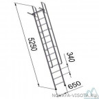 Лестницы приставные алюминиевые с поручнями ЛПНА 4,2