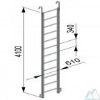 Лестница навесная алюминиевая с алюминиевыми крюками (ЛНА)