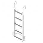 Лестница навесная алюминиевая с алюминиевыми крюками ЛНАак-4,1