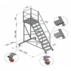 Вышка-стремянка разборная, на колесах ВС (стандартная)