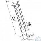 Лестницы приставные алюминиевые с поручнями ЛПНА 8.2 разборная из двух частей*