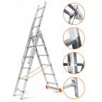 Трехсекционная лестница Гранит 3х6